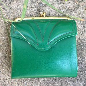 Vintage Bags - RARE Vintage Dark Green Corfam Change Purse Wallet